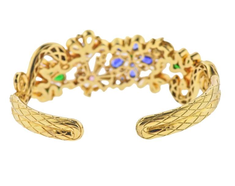 Round Cut Temple St. Clair Diamond Moonstone Emerald Sapphire Gold Cuff Bracelet For Sale