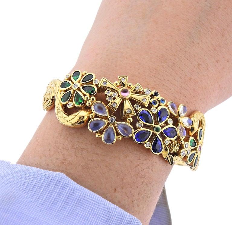 Women's Temple St. Clair Diamond Moonstone Emerald Sapphire Gold Cuff Bracelet For Sale