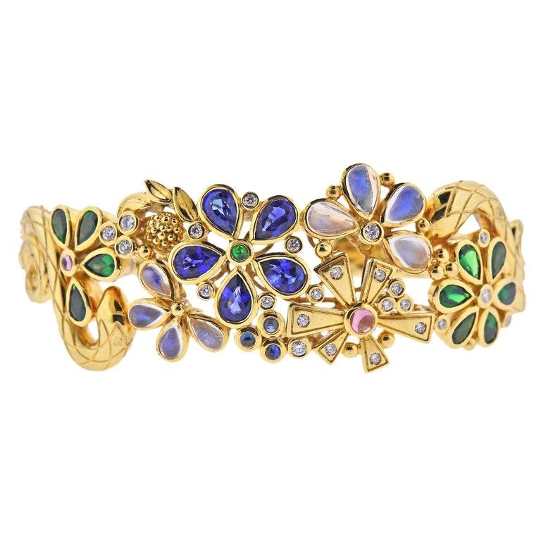 Temple St. Clair Diamond Moonstone Emerald Sapphire Gold Cuff Bracelet For Sale