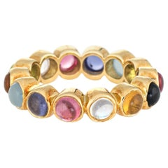 Temple St Clair Eternity Ring Multi-Color Gemstone 18 Karat Yellow Gold