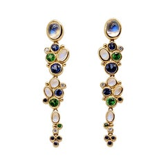Temple St Clair Gold Multistone Shoulder Duster Earrings