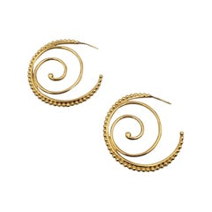 Temple St. Clair 'Midnight Oasis Arabesque' Yellow Gold Hoop Earrings