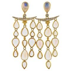 Temple St. Clair Moonstone Diamond Gold Chandelier Earrings