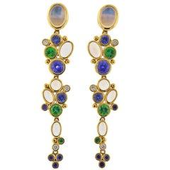 Temple St. Clair Moonstone Tsavorite Diamond Sapphire Gold Drop Earrings