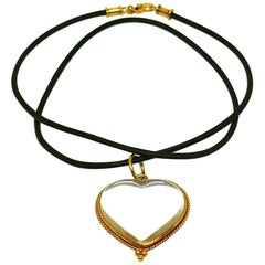 Temple St. Clair Rock Crystal Yellow Gold Heart Leather Cord Necklace