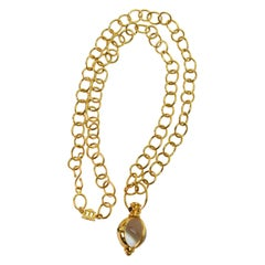 Temple St. Clair Yellow Gold Chain Necklace w Rock Crystal Gem Amulet Pendant