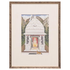 """Temple with Tiger"" 19th Century Indian Mughal Miniature Painting"