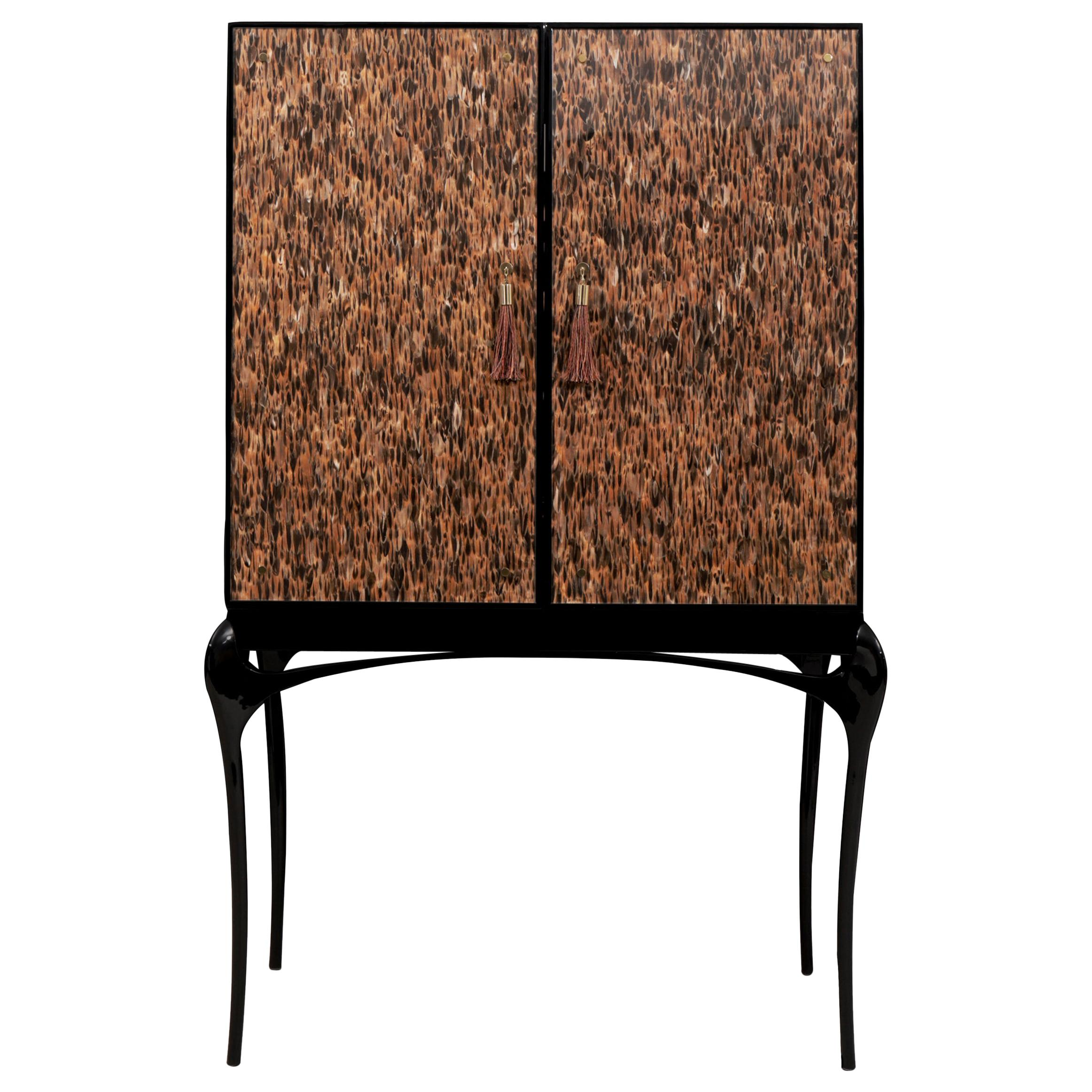 Temptation Bar Cabinet in Black lacquer with high gloss finish