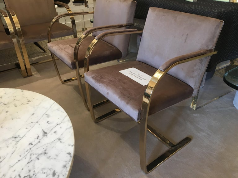 Ten '10' Vintage Solid Brass Brno Chairs by Ludwig Mies van der Rohe For Sale 4