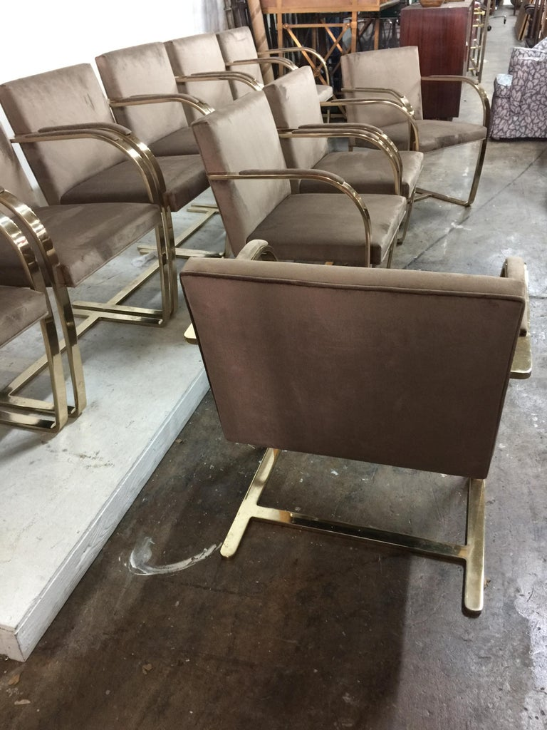 Ten '10' Vintage Solid Brass Brno Chairs by Ludwig Mies van der Rohe For Sale 7
