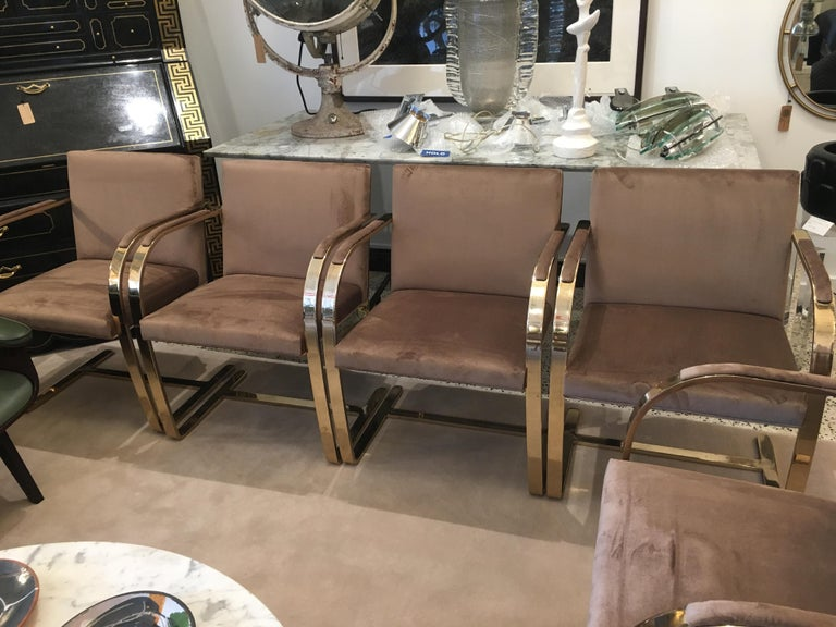 Ten '10' Vintage Solid Brass Brno Chairs by Ludwig Mies van der Rohe For Sale 3