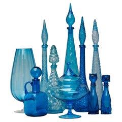 Ten 1960s Blue Glass Italian Empoli Genie Bottles Decanters, Vases Candy Jar