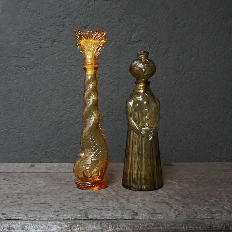 Ten 1960s Vintage Italian Amber Glass Empoli 'Genie' Decanters Liquor Bottles 4