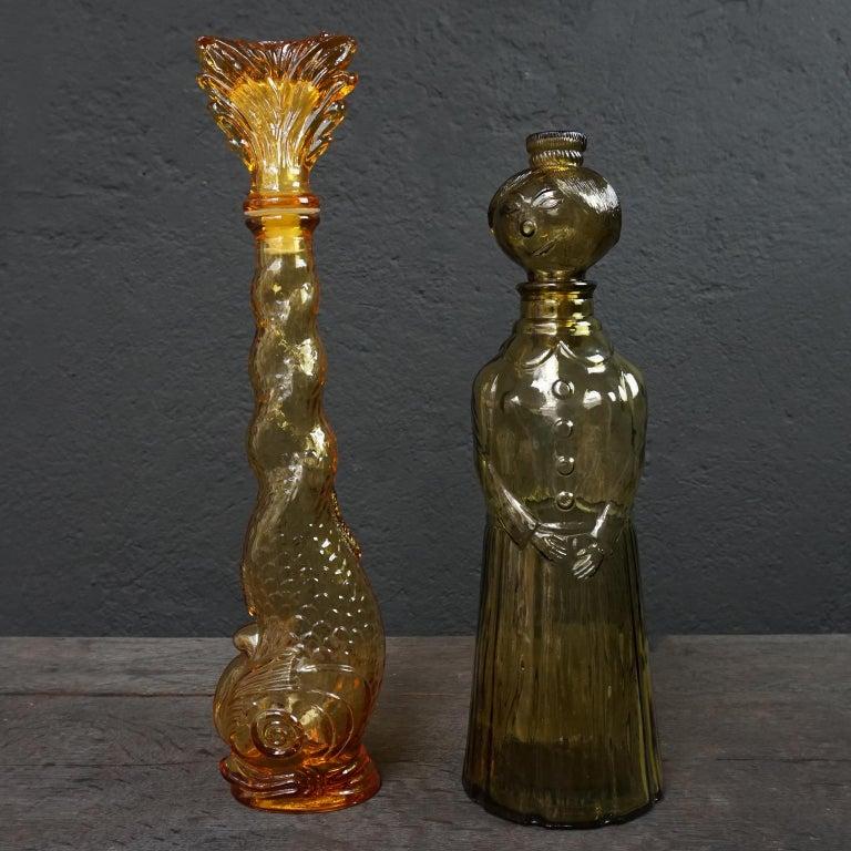 Ten 1960s Vintage Italian Amber Glass Empoli 'Genie' Decanters Liquor Bottles 5