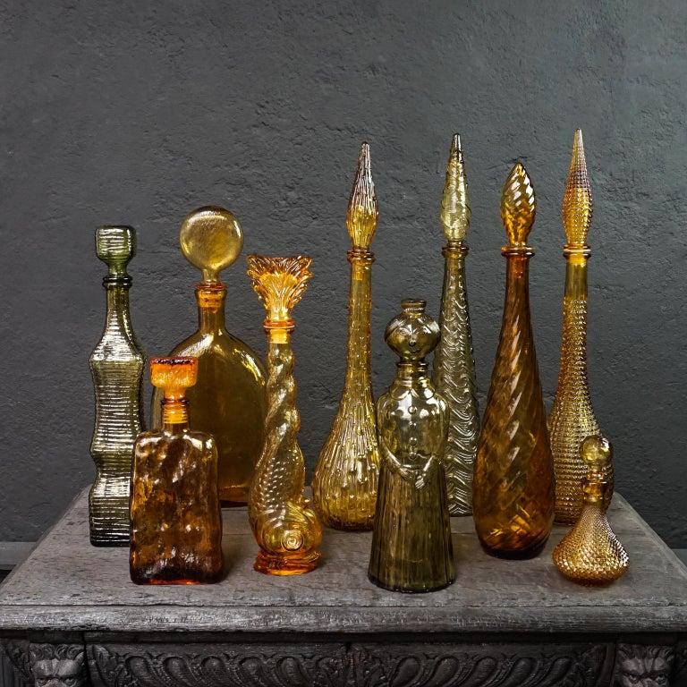 Mid-Century Modern Ten 1960s Vintage Italian Amber Glass Empoli 'Genie' Decanters Liquor Bottles