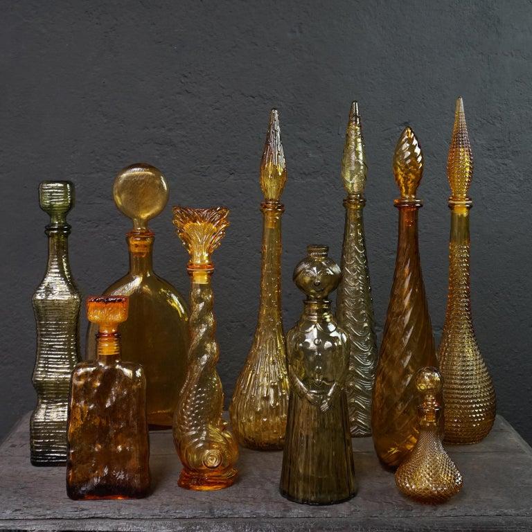 Pressed Ten 1960s Vintage Italian Amber Glass Empoli 'Genie' Decanters Liquor Bottles