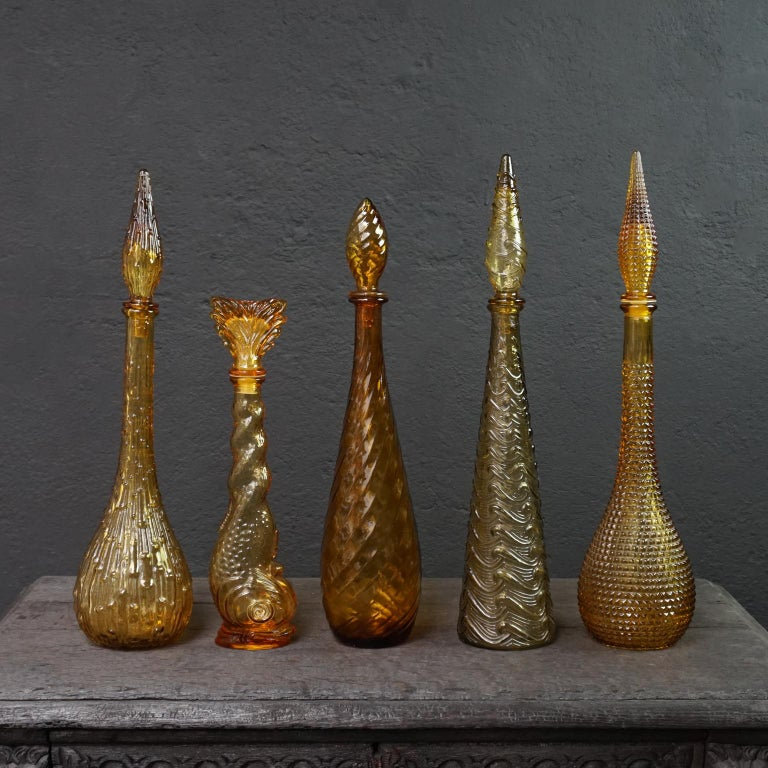 Mid-20th Century Ten 1960s Vintage Italian Amber Glass Empoli 'Genie' Decanters Liquor Bottles
