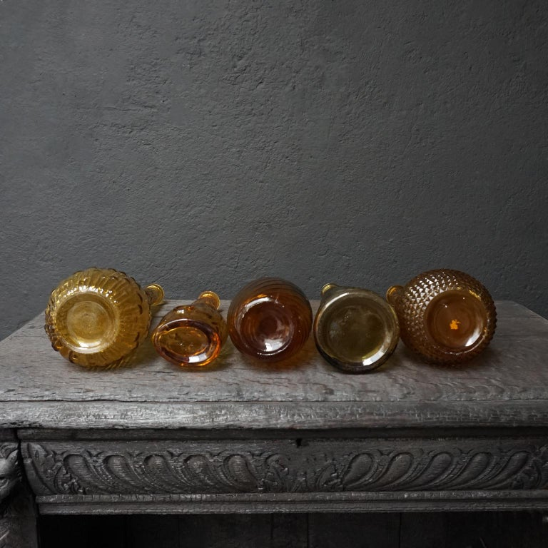 Ten 1960s Vintage Italian Amber Glass Empoli 'Genie' Decanters Liquor Bottles 1