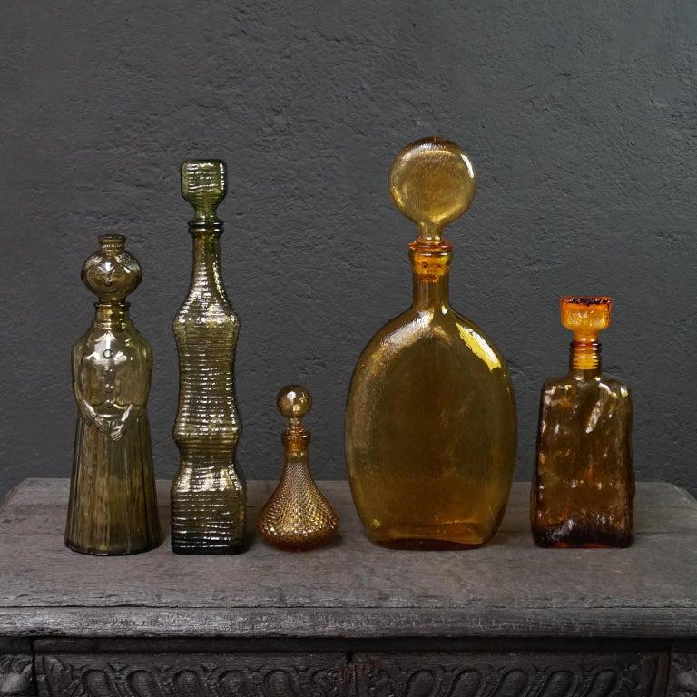 Ten 1960s Vintage Italian Amber Glass Empoli 'Genie' Decanters Liquor Bottles 2