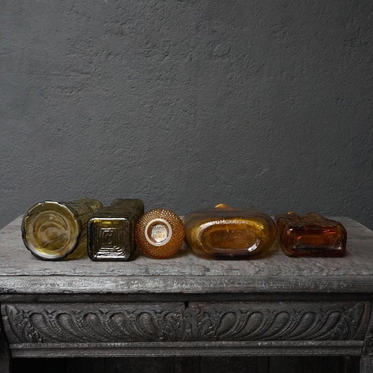 Ten 1960s Vintage Italian Amber Glass Empoli 'Genie' Decanters Liquor Bottles 3