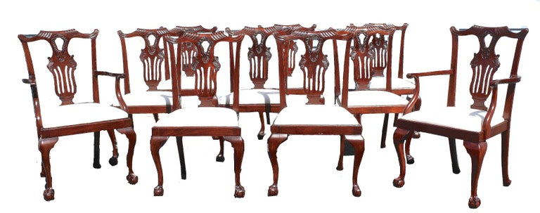 A set of ten mahogany Chippendale manner ball and claw-footed dining chairs; including eight 'sides' and two armchairs. The backsplats are unusually refined, with an ornate hand-carved appearance. The white slip seats appear to be recent and