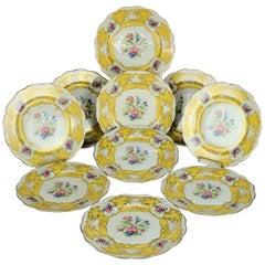 Ten Antique Bavarian Royal Bayreuth Floral Fine China Dinner Plates 19th Century