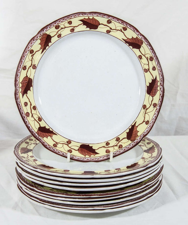 Country Ten Antique Creamware Dishes Border Brown and Yellow Made circa 1800 For Sale