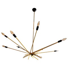 Ten-Arm / Torchiere Brass & Black Accents Stilnovo Attributed Sputnik Chandelier