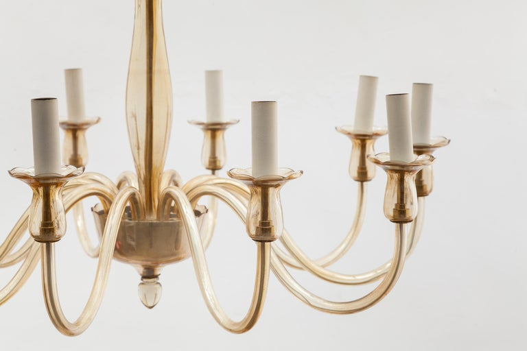 Mid-Century Modern Ten Arms Murano Amber-Colored Glass Chandelier, 1950s, Italy For Sale