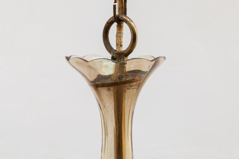 Italian Ten Arms Murano Amber-Colored Glass Chandelier, 1950s, Italy For Sale