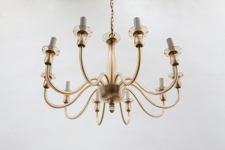 Ten Arms Murano Amber-Colored Glass Chandelier, 1950s, Italy In Good Condition For Sale In Antwerp, BE