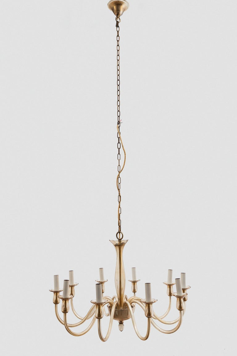 Blown Glass Ten Arms Murano Amber-Colored Glass Chandelier, 1950s, Italy For Sale