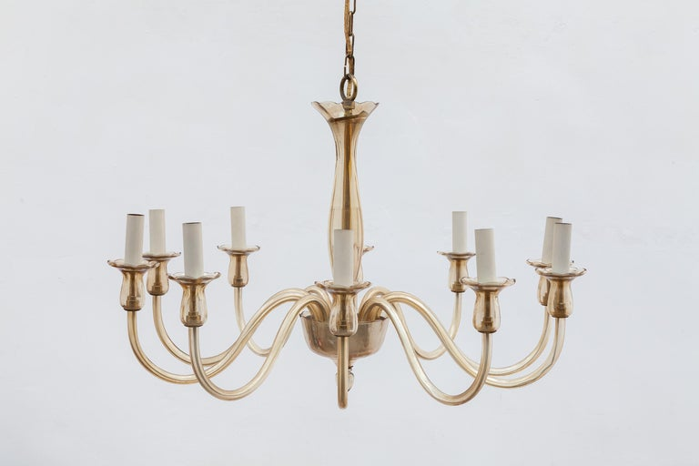 Ten Arms Murano Amber-Colored Glass Chandelier, 1950s, Italy For Sale 1