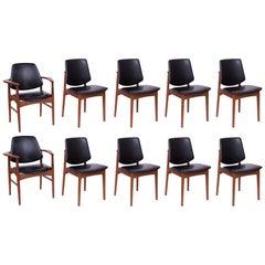 Ten Arne Hovmand Olsen Teak & Brass Dining Chairs