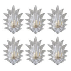 Six Art Deco Leaf Sconces by Barovier e Toso