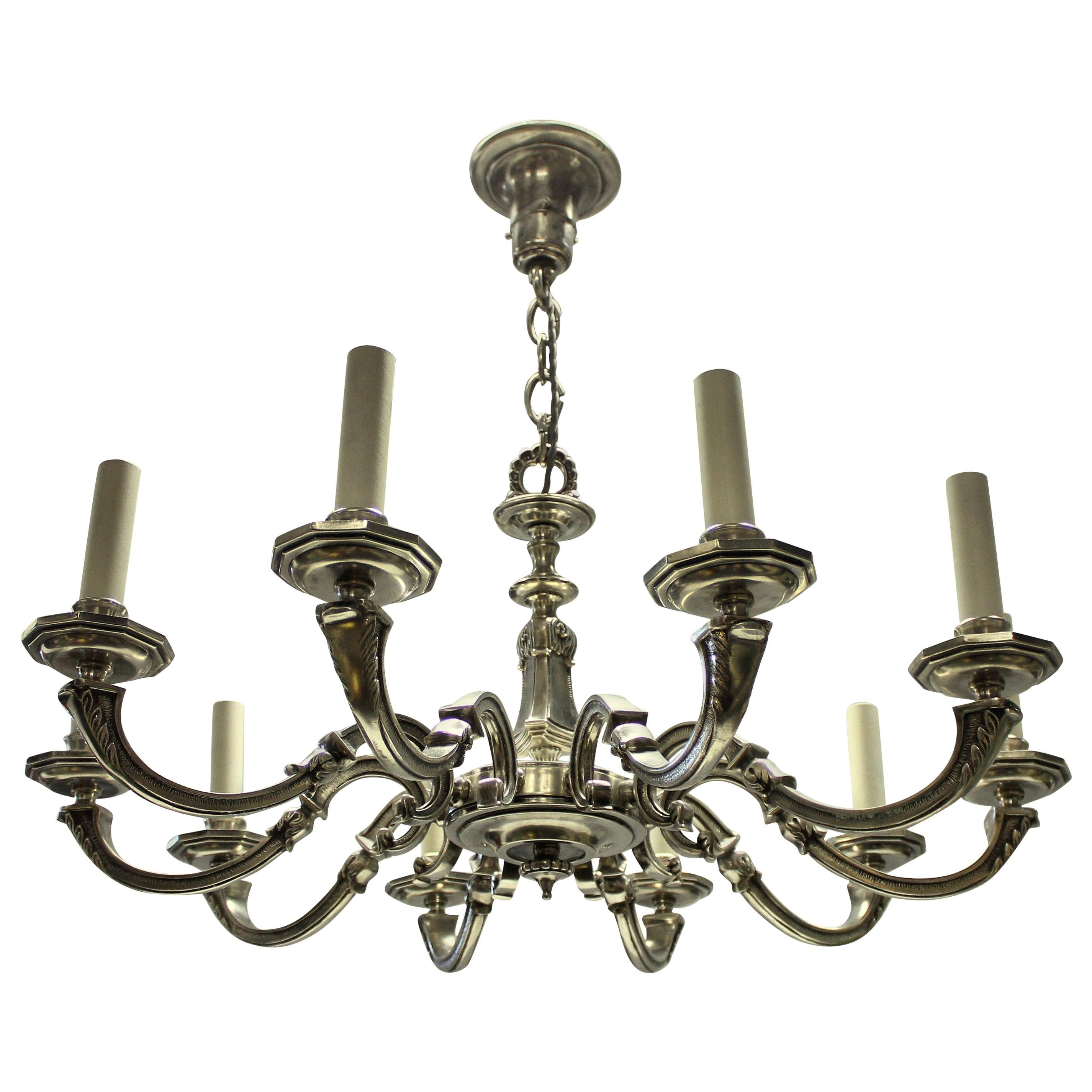 Ten Branch Silver Plated Neo Classical Chandelier