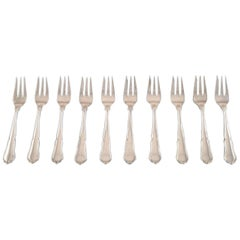 "Ten Cake Forks ""Annemarie"" Danish Silver, Jens Sigsgaard"