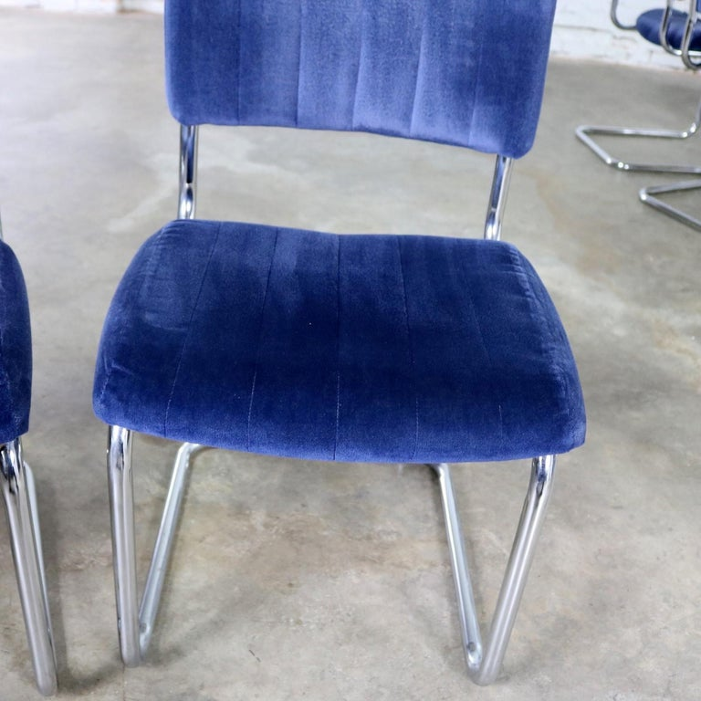 Ten Cantilevered Chrome and Blue Velvet Dining Chairs after Marcel Breuer Cesca For Sale 5