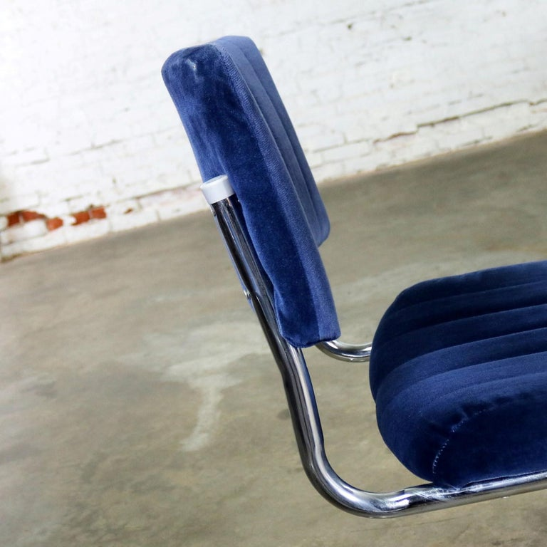 Ten Cantilevered Chrome and Blue Velvet Dining Chairs after Marcel Breuer Cesca For Sale 8