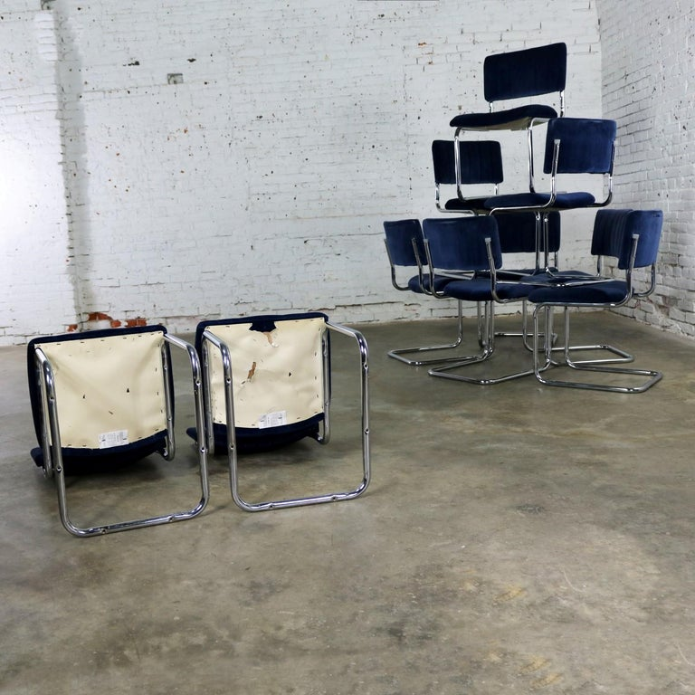 Ten Cantilevered Chrome and Blue Velvet Dining Chairs after Marcel Breuer Cesca For Sale 10