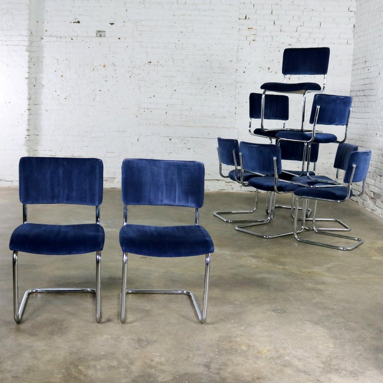 American Ten Cantilevered Chrome and Blue Velvet Dining Chairs after Marcel Breuer Cesca For Sale
