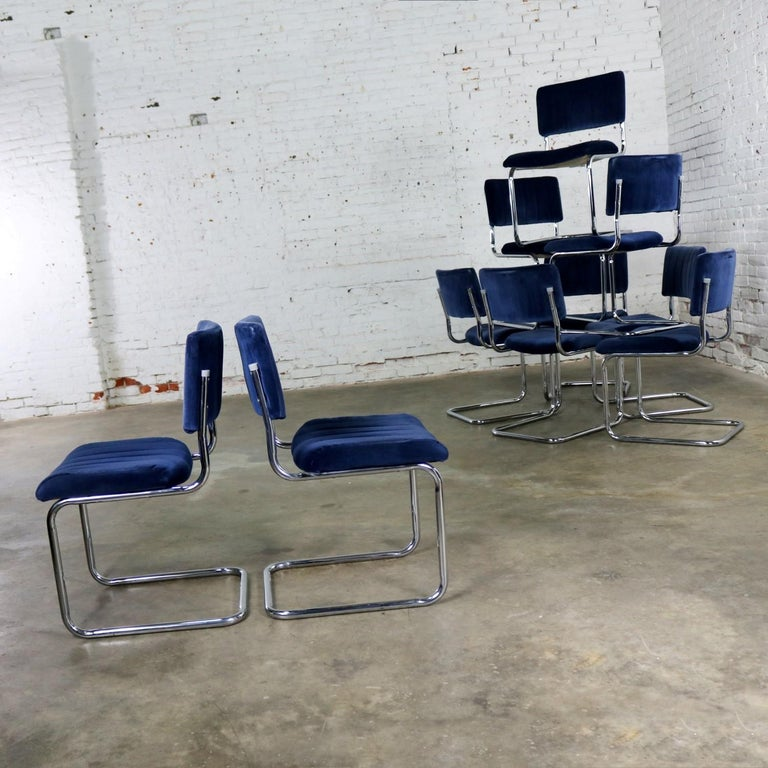 Ten Cantilevered Chrome and Blue Velvet Dining Chairs after Marcel Breuer Cesca For Sale 1