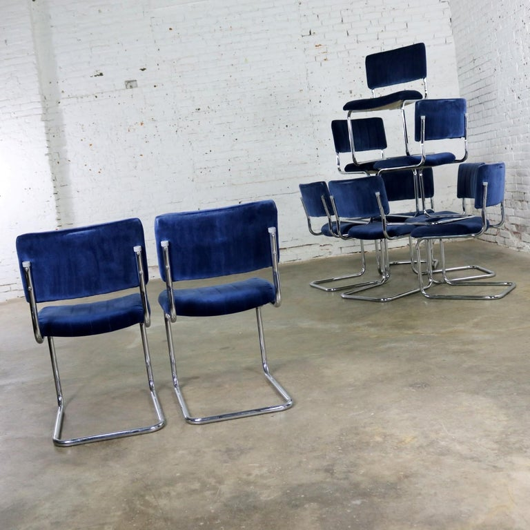Ten Cantilevered Chrome and Blue Velvet Dining Chairs after Marcel Breuer Cesca For Sale 2
