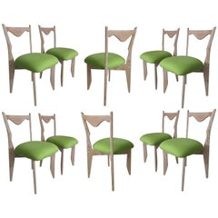 Ten Cerused Oak Dining Room Chairs by Guillerme & Chambron