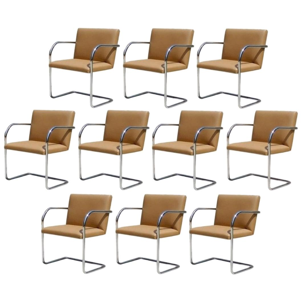 Ten Chrome & Camel Colored Mies van der Rohe Tubular Brno Chairs by Knoll