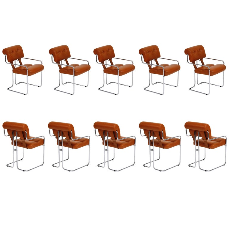"""Ten Cognac Leather """"Tucroma"""" Chairs by Guido Faleschini for Mariani Pace, 1970s For Sale"""