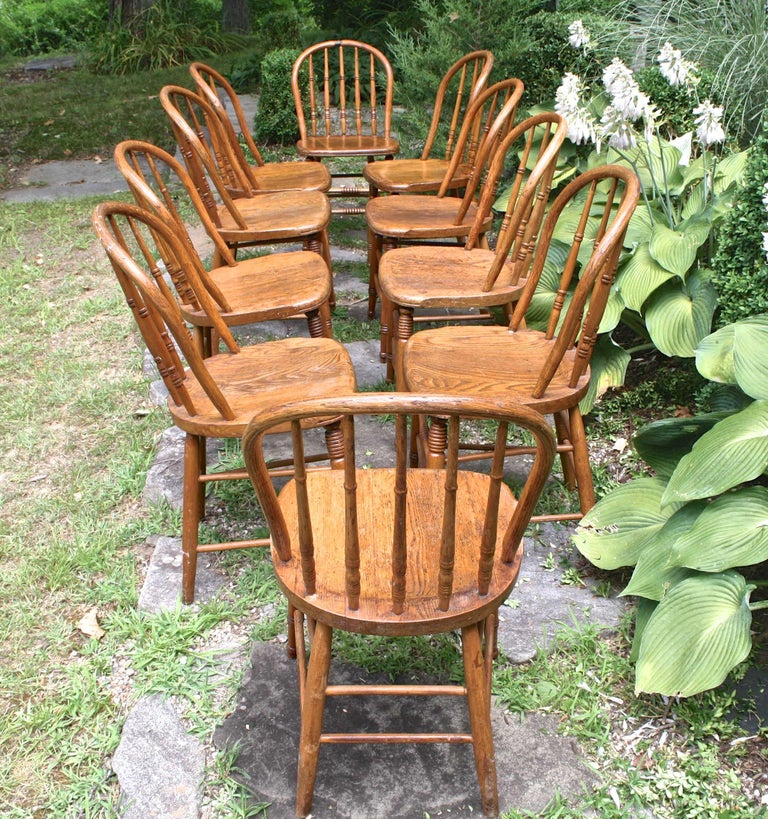 Country TEN Connecticut Hoop Back Windsor Chairs For Sale