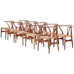 Ten Danish Vintage Wishbone Chairs CH 24 by Hans J. Wegner for Carl Hansen Oak
