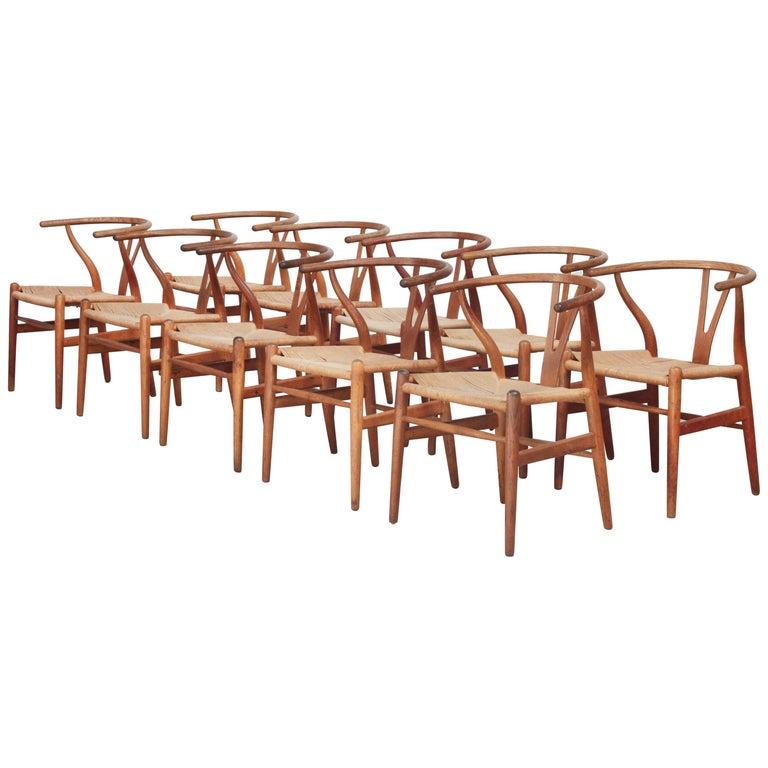 Ten Danish Vintage Wishbone Chairs CH 24 by Hans J. Wegner for Carl Hansen Oak For Sale