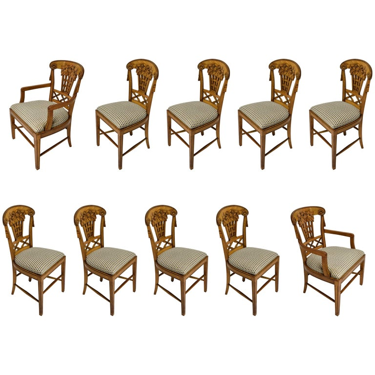 Ten Dining Chairs by André Groult, France, 1912 For Sale